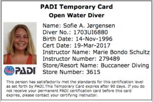 Open Water Diver certificate